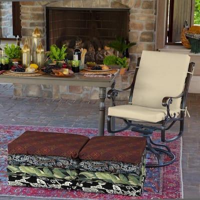 20 x 44 New Tan Leala Texture High Back Outdoor Dining Chair Cushion