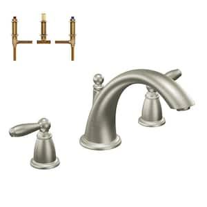 Brantford 2-Handle Deck-Mount Roman Tub Faucet in Brushed Nickel (Valve Included)