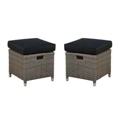 Monaco All-Weather Wicker 17 in. Square Outdoor Ottomans with Gray Cushions (Set of 2)