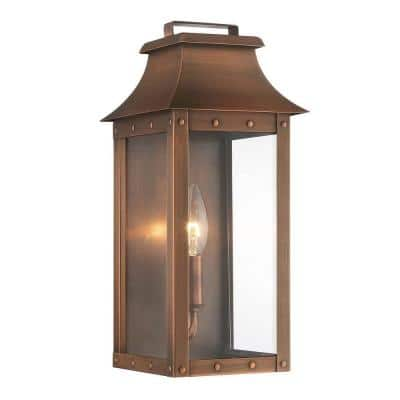 Manchester Collection 1-Light Copper Patina Outdoor Wall Lantern Sconce