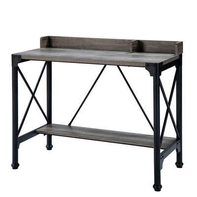 Ilianan Width 40.51 in. Brown Writing Desk with Black Base