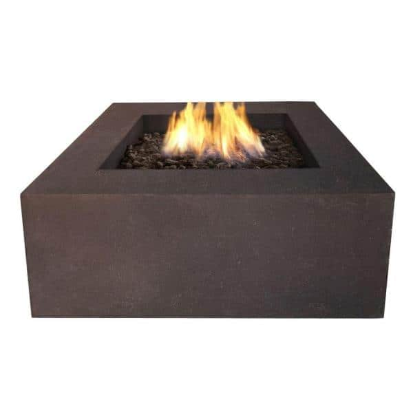 Real Flame Baltic 36 In Square Natural Gas Outdoor Fire Pit In Kodiak Brown T9620ng Kb The Home Depot