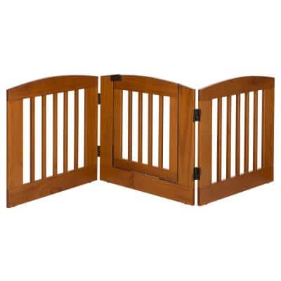Ruffluv 24 in. H Wood 3-Panel Expansion Chestnut Pet Gate with Door