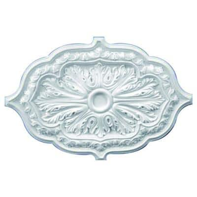 36 in. x 26 in. x 1-5/8 in. Leaf Polyurethane Oval Ceiling Medallion
