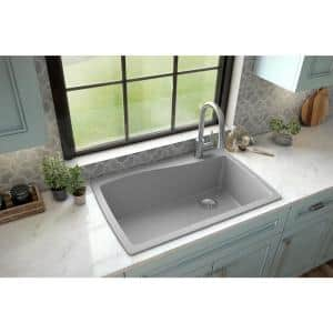 Drop-In Quartz Composite 34 in. 1-Hole Single Bowl Kitchen Sink in Grey