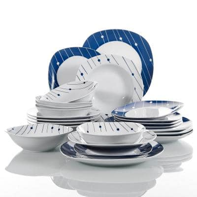 Series Dot 24-Piece Porcelain Dinnerware Set with 6-Bowls 6-Dessert Plates 6-Soup Plates 6-Dinner Plates (Service for 6)
