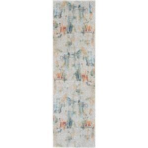 Global Vintage Ivory/Multicolor 2 ft. x 6 ft. Oriental Contemporary Runner Rug