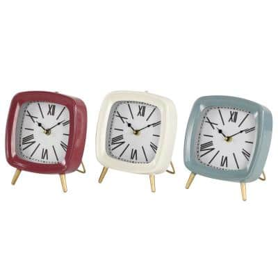 Square Mauve, White and Blue Metal Table Clocks with Retractable Stands and Gold Feet (Set of 3)