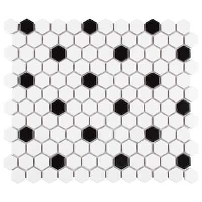 "Metro Hex Matte White with Black Dot 10-1/4""x11-7/8"" x 6mm Porcelain Mosaic Tile (8.65 sq. ft. / Case)"
