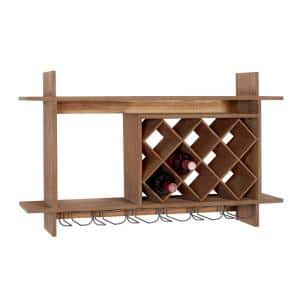 9-Bottle Brown Natural Wood Wine Rack