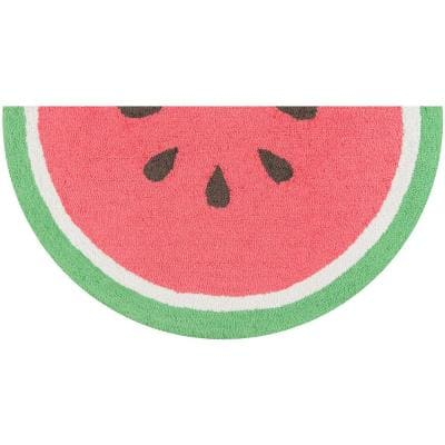 Cucina Watermelon 1 ft. 6 in. x 3 ft. Half Circle Kitchen Mat
