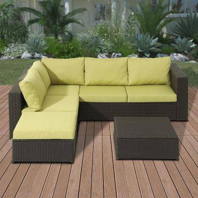 4-Piece Wicker Sectional Set with Green Cushions