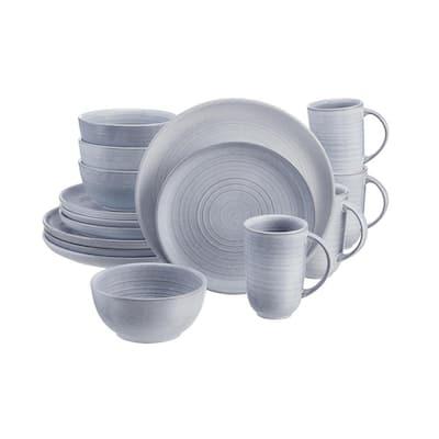 Blakely 16-Piece Reactive Glaze Raindrop Blue Stoneware Dinnerware Set (Service for 4)