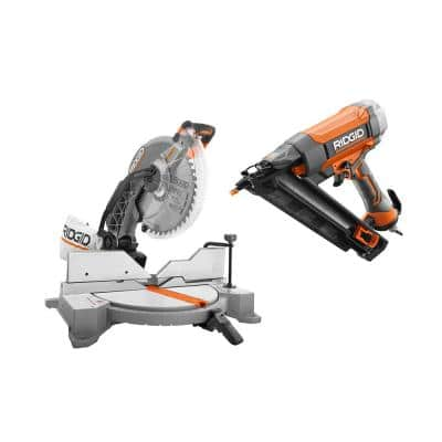 15 Amp Corded 12 in. Dual Bevel Miter Saw with LED and Pneumatic 15-Gauge 2-1/2 in. Angled Finish Nailer