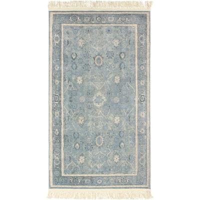 Versailles Fringed Blue 3 ft. x 5 ft. Distressed Vintage Accent Rug