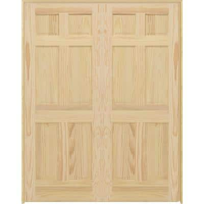 48 in. x 80 in. Universal 6-Panel Unfinished Pine Wood Double Prehung Interior French Door with Nickel Hinges