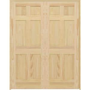 60 in. x 80 in. Universal 6-Panel Unfinished Pine Wood Double Prehung Interior French Door with Bronze Hinges