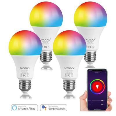 60-Watt Equivalent 80 A19 Dimmable Smart LED Light Bulb Multi-Color (4-Pack)
