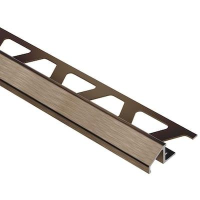 Reno-U Brushed Antique Bronze Anodized Aluminum 3/8 in. x 8 ft. 2-1/2 in. Metal Reducer Tile Edging Trim