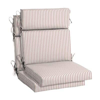 21.5 in. x 24 in. Ticking Stripe Outdoor High Back Dining Chair Cushion (2-Pack)