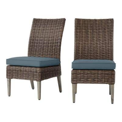 Rock Cliff Brown Stationary Wicker Outdoor Patio Armless Dining Chair with Sunbrella Denim Blue Cushions (2-Pack)