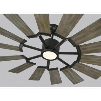 Prairie 52 in. LED Indoor/Outdoor Aged Pewter Ceiling Fan with Light Kit, Light Grey Weathered Oak Blades and Remote