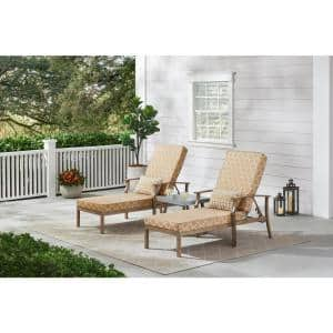 Beachside Rope Look Wicker Outdoor Patio Chaise Lounge with CushionGuard Toffee Trellis Tan Cushions (2-Pack)