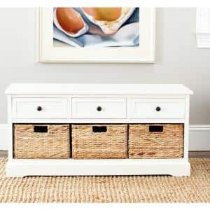 Damien 3-Drawer Wood Storage Unit in Distressed Cream