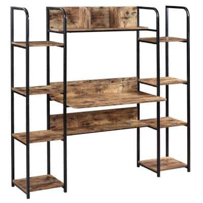 Industrial Design Brown Home Office Computer Desk with Storage Hutch and Double Bookcase