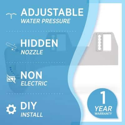 Non-Electric Attachable Bidet System for 2-Piece Toilets in White