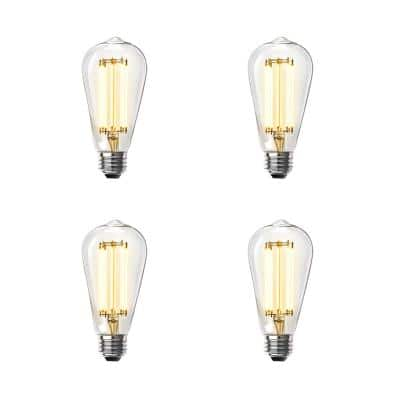 100-Watt Equivalent ST19 Dimmable LED Clear Glass Vintage Edison Light Bulb With Straight Filament Warm White (4-Pack)
