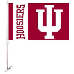 NCAA 11 in. x 18 in. Indiana 2-Sided Car Flag with 1-1/2 ft. Plastic Flagpole (Set of 2)