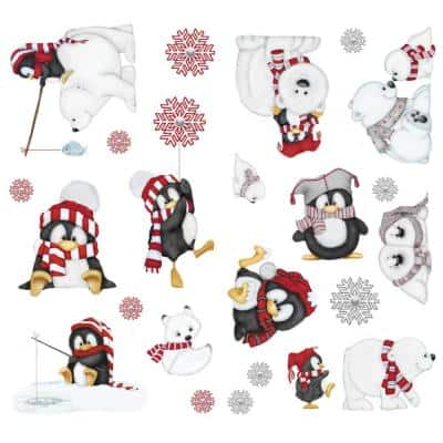 10 in. Multi Arctic Antics Applique Wall Decal Stickers with Penguins and Polar Bears