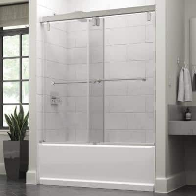 Lyndall 60 x 59-1/4 in. Frameless Mod Soft-Close Sliding Bathtub Door in Chrome with 3/8 in. (10mm) Clear Glass