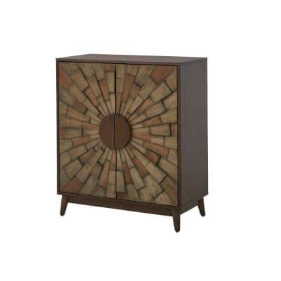 Smoke Brown Wood Accent Cabinet with Dimensional Starburst Pattern (31.5 in. W x 36.63 in. H)