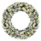 24 in. Green Pre-Lit Artificial Snow Flocked Christmas Pine Wreath with 50 LED Lights Timer