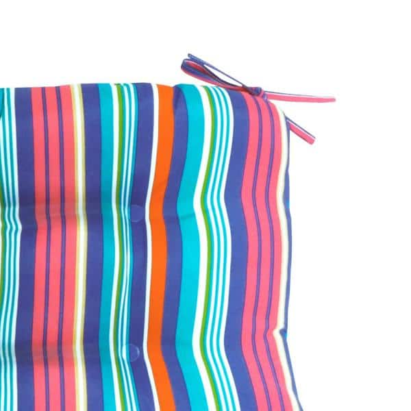 Hampton Bay Antilles Stripe Sail Blue Square Tufted Outdoor Dining Seat Cushion 2 Pack 7200 02613400 The Home Depot