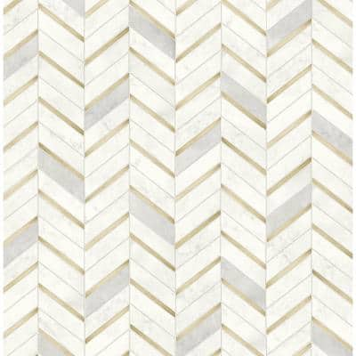 Faux Marble Tile Vinyl Peel & Stick Wallpaper Roll (Covers 30.75 Sq. Ft.)