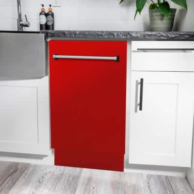 """18"""" Compact Top Control Dishwasher 120-Volt in Red Matte with Stainless Steel Tub and 3rd Rack (DWV-RM-18)"""