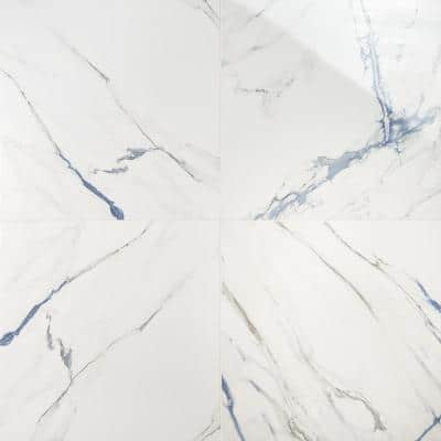 Calacatta Indigo 24 in. x 24 in. Polished Porcelain Floor and Wall Tile (4-Piece, 15.49 sq. ft./Case)