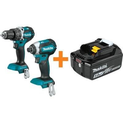 18V LXT 1/2 in. Brushless Hammer Driver-Drill and LXT Brushless 1/4 in. Impact Driver with Bonus 18V LXT Battery 5.0 Ah