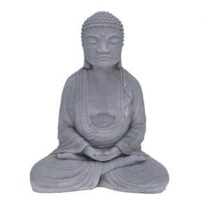 Cast Stone Meditating Buddha Garden Statue Antique Gray