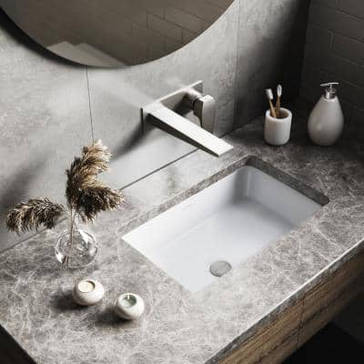 Voltaire 21 in. Rectangular Undermount Bathroom Sink in Glossy White