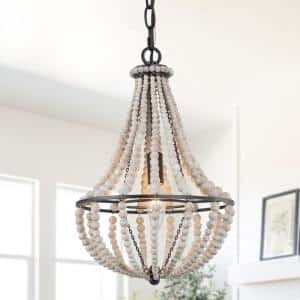 Farmhouse 1-Light Small Matte Black Wood Beaded Pendant Light Boho White Beads Island Hanging Ceiling Lamp for DIYers