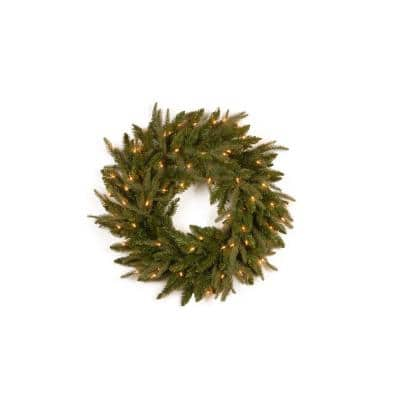 24 in. Feel-Real Frasier Grande Artificial Wreath with 70 Clear Lights