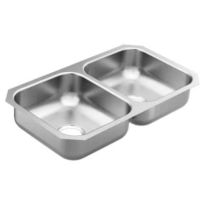 2000 Series Stainless Steel 31.75 in. Double Bowl Undermount Kitchen Sink with 6 in. Depth