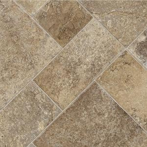 Coffee Diagonal Tile Stone Residential Vinyl Sheet Flooring 12ft. Wide x Cut to Length