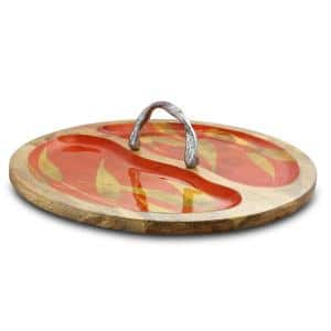 Philomena 16 in. W x 4.25 in. H x 16 in. D Brown Enameled Mango Wood Tray with Handle