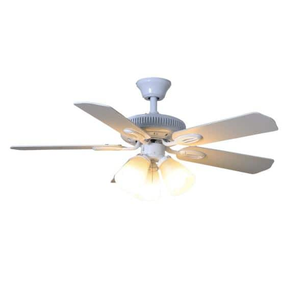 Hampton Bay Glendale 42 In Led Indoor White Ceiling Fan With Light Kit Am212 Wh The Home Depot
