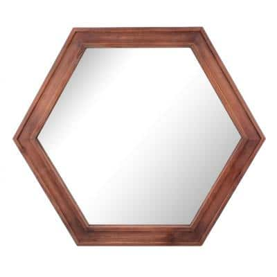 21in x 24in Traditional Hexagon Redwood Stained Wood Framed Accent Mirror